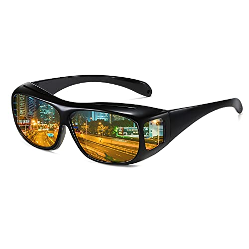 UV400 Night Vision Glasses Fit Over Prescription Eyewear Wrap Arounds Sunglasses Driving Protection