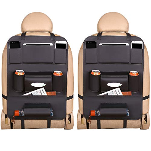 EONAZE - Organizador de maletero para coche, 2 unidades, organizador de piel, 8 compartimentos prácticos, para guardar juguetes infantiles, protección de asiento trasero para niños (cuero negro)
