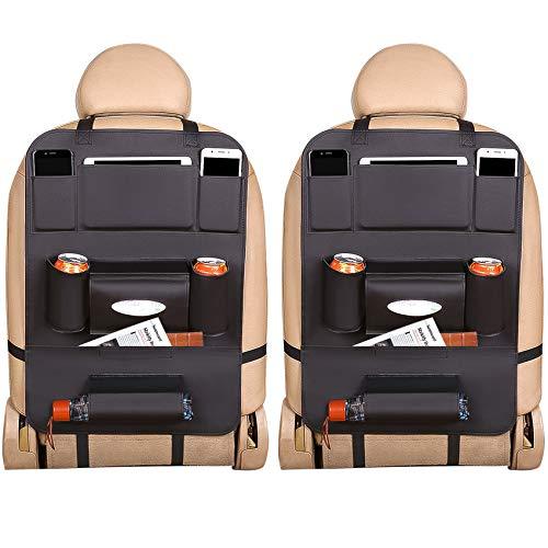 Kofferraum Organizer Auto Aufbewahrungstasche, EONAZE 2 Stück Leder Organizer 8 Praktische Fächer Rücksit Kinderspielzeug Aufbewahrung, Rücksitzschutz für Kinder (Schwarz-Leder)