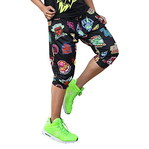 Zumba Fitness Aktiv Weicher Stoff Haremshose Damen Stilvoll Workout Hippie Hose, Bold Black 0, XS