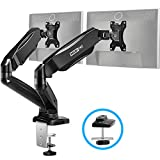 MOUNTPRO Dual Monitor Desk Mount - Articulating Gas Spring Monitor Arm, Removable VESA Mount Desk Stand with Clamp and Grommet Base - Fits 13 to 27 Inch LCD Computer Monitors, VESA 75x75, 100x100