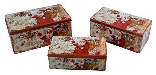 IID Keksdosen Set mit Deckel, Weihnachtsmannmotiv, 3 Verschiedene Größen, aus Metall, eckig, auch als Geschenkbox, Weihnachts-und Plätzchendose geeignet, Mehrfarbig
