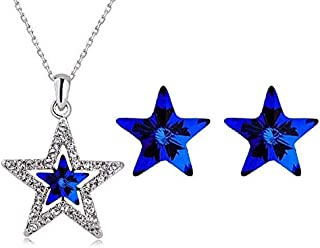 Necklace and earring jewelary set for women - blue star
