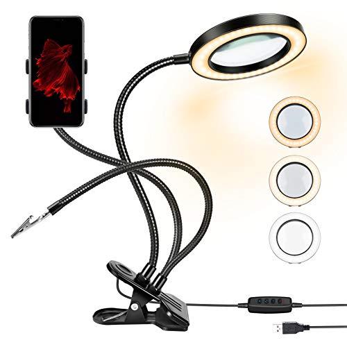 Lente d'ingrandimento 10X con lampada d'ingrandimento a LED luminosa, lente d'ingrandimento illuminata a clip 360 ° flessibile 3 modalità di luce 10 livelli di luminosità per il lavoro