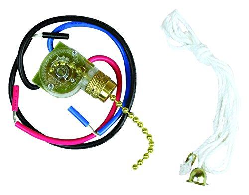 Jandorf 60305 Fan Light Pull Chain Switch 3-Way 3 Wire Terminals Brass Chain