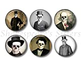 Skeletons in Top Hats - Human Anatomy Gothic Medical Magnets - 1.5 Inch Round - 6 Piece Magnet Set - Kitchen, Locker, Office, Halloween, Fun for Horror Fan