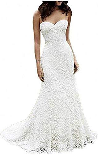 Kleid Brautkleid Bh Fishtail Brautkleid Absatz 1 Paket Hip Brautkleid 2 Sexy Lace Small Tailing Braut Brautkleid Beach Formal/White/Xxxl, L-F
