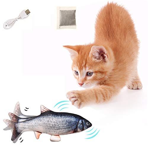 Aimtel Katzenspielzeug Fisch Wackelfisch für Katzen, Elektrische Katzenspielzeug mit Katzenminze,30cm Simulation Spielzeug Fisch,Plüsch Interaktives Katzenspielzeug,Zappelnder Fisch für Katzen