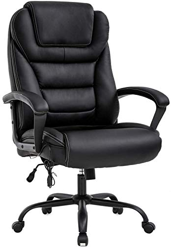 Big and Tall Executive Office Chair -500lbs Wide Seat PU Leather Swivel Ergonomic Desk Computer Chair w/High Back & Lumbar Support Arms for Home Office Black
