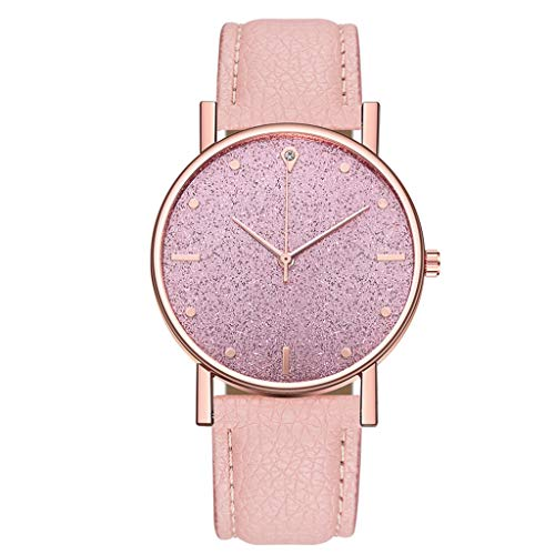 Fenverk Unisex Armbanduhr Damen-Uhr Herren-Uhr, Analog Display, Quarzwerk, Kunst-Leder-Armband, Chronograph-Optik(Pink)