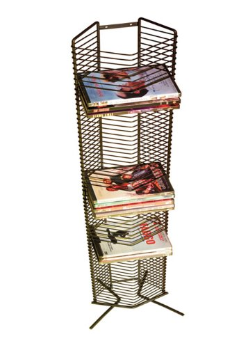 Atlantic Onyx 65 Wire DVD-Tower - Holds 65 DVDs/Blu-Rays or PS3 Games, Wall Mount or Freestanding in Matte Black Steel, PN 1332