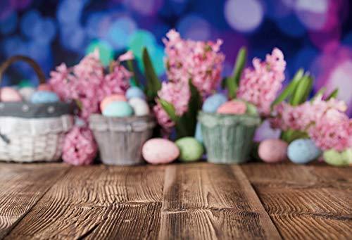Fondos de Pascua para fotografía Flores Conejo Huevos Cubo Piso Gris Fiesta de bebé Photozone Fondo fotográfico Estudio fotográfico A16 7x5ft / 2.1x1.5m