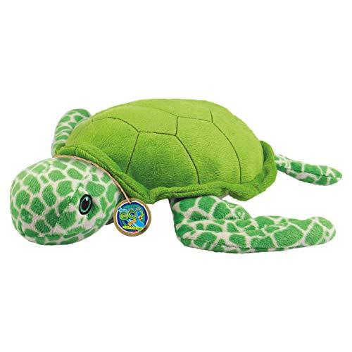 EcoBuddiez - Tortuga Marina de Deluxebase. Peluche pequeño de 20 cm elaborado con Botellas de plástico recicladas. Lindo Peluche ecológico con Forma de animalito para niños pequeños.