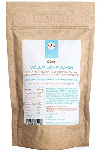 Vollmilchpulver 1kg - 26% Fett - lange haltbar im wiederverschließbarem Standbodenbeutel von kaona