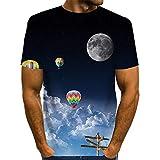 Wijider Camiseta 3D Hombre Manga Corta,Camisetas De Manga Corta con Estampado De Globo De Aire Caliente 3D Unisex, Blusa Transpirable Casual De Verano para Hombre T-Shirts-XXXXL
