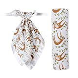 Lulujo Swaddle and Security Lovies Gift Set, 1 Swaddle and 2 Blankets (Sloth)