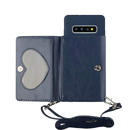 TYWZ Crossbody Hülle für Samsung Galaxy S10 Plus,Schultergurt Halsketten Brieftasche PU Leder Handykette mit Kartenhalter Silikon Case mit Kordel zum Umhängen-Dunkel Blau