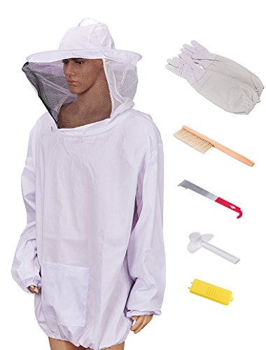Beekeeping Jacket with Veil Beekeeper Jacket and Veil with Gloves, Beehive Tools and Beehive Brush (XL)