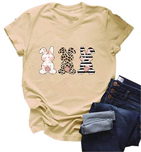 FCYOSO Damen-T-Shirt, kurzärmelig, Rubbit-Ei-Druck Gr. M, A-beige