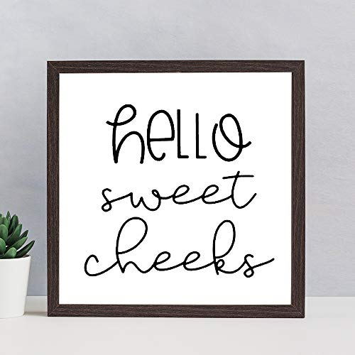 BYRON HOYLE Wood Sign Hello Sweet Cheeks Sign Bathroom Sign Bathroom Decor Funny Bathroom Decor Farmhouse Decor Home Decor Wall Hanger Wall Art Best Gift