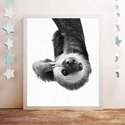 GASFG Schattige dier lui doek olieverfschilderij zwart-wit fotografie afbeelding kinderkamer decoratie Kein Rahmen 56 x 70 cm.