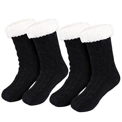 Tacobear 2 Pares Invierno Calcetines Mujer Calcetines Zapatillas Casa Calcetines Antideslizantes Cálido Calcetines con suela Gruesos Lana Zapatilla Calcetin de Piso para Mujer Niña (negro + negro)