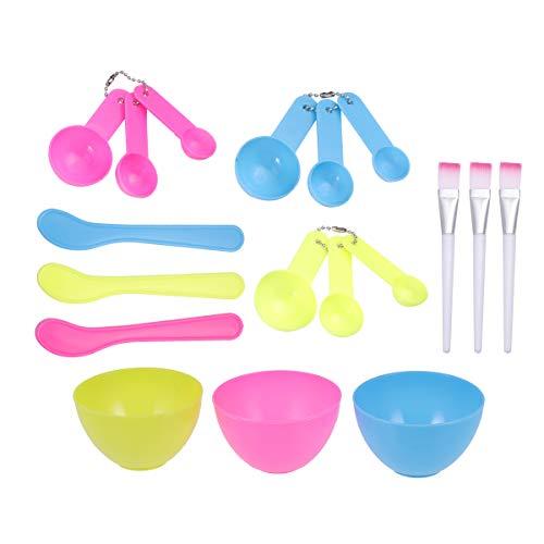 Lurrose 12 stks gezichtsmasker kom gezichtsmasker mengen gereedschap kit DIY gezichtsmasker gereedschap (roze+geel+blauw)