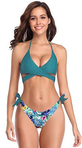SHEKINI Damen Bikini Set Push up Verstellbar Crossover Ties-up Neckholder Bikinioberteil Zweiteiliger Badeanzug Triangel Gedruckt Niedrige Taille Bikinihose Strandkleidung (X-Large, Dunkelgrün-B)