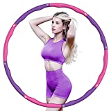 yuailiur Weighted Exercise Hoop for Adults Weight Loss, 8 Sections Detachable Hoop by Fun Way to Workout, 2.5lbs Portable and Adjustable Massage Fitness Hoop