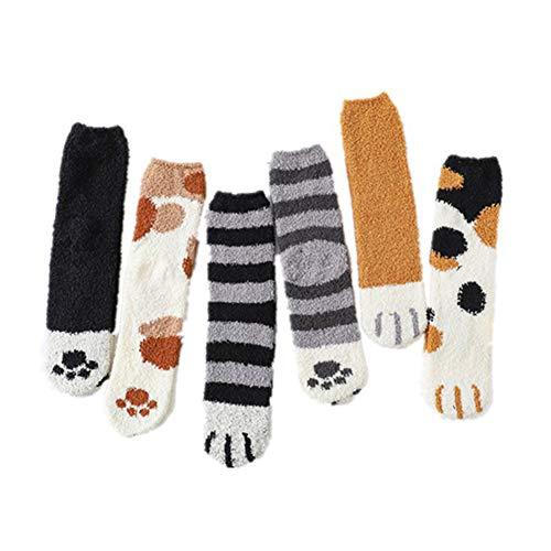 ZZSNT 6 pair Winter Cat Claws Cute Thick Warm Sleep Floor Socks