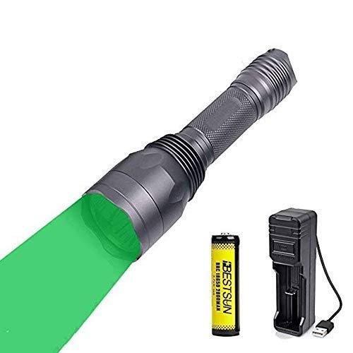 Linterna verde, linterna LED con luz verde Linterna de caza recargable 3X XP-E2 650 lúmenes de largo alcance 300 yardas para visión nocturna