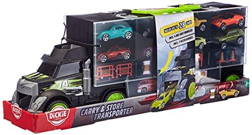 Dickie Toys Carry & Store Transporter, Platz für 28 Fahrzeuge auf 4 Ebenen, Exit Rampe durch Führerhaus, mit Tragegriff, Seitenpaneele zum Öffnen, inkl. 4 Spielzeugautos, 43 cm, für Kinder ab 3 Jahren