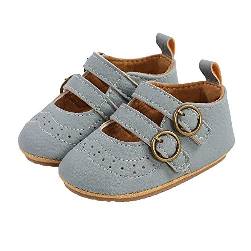 EpicLife Calcetines planos Mary Jane para recién nacidos, de piel sintética, con hebilla doble, con medias, Blue Shoes, 0-6 Meses