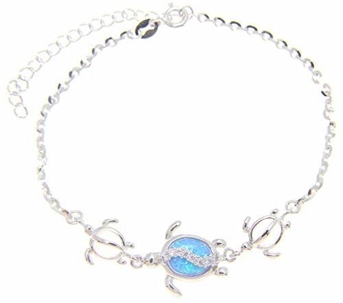 Arthur's Jewelry 925 Sterling Silver Hawaiian Honu sea Turtle cz Blue Synthetic Opal Link Chain Anklet 9'+