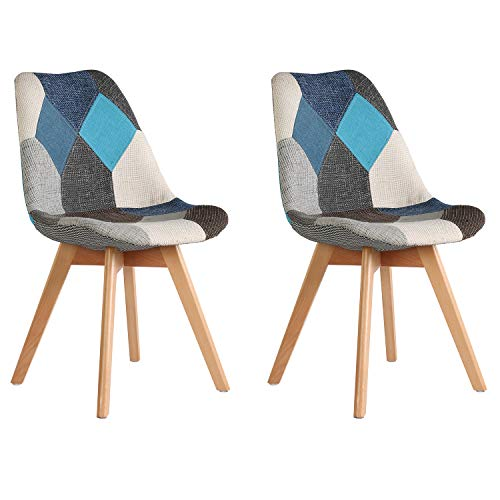 Juego de 2 sillas silla retro nórdica patchwork silla de recepción silla de maquillaje adecuada para dormitorio sala de estar comedor cocina hotel sala de estar silla de conferencia (Colores fríos)