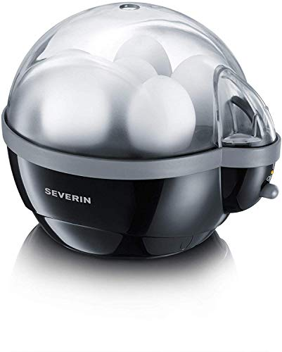 SEVERIN Eierkocher, Inkl. Wasser-Messbecher mit Eierstecher, 6 Eier, Signalton, EK 3056, schwarz/grau