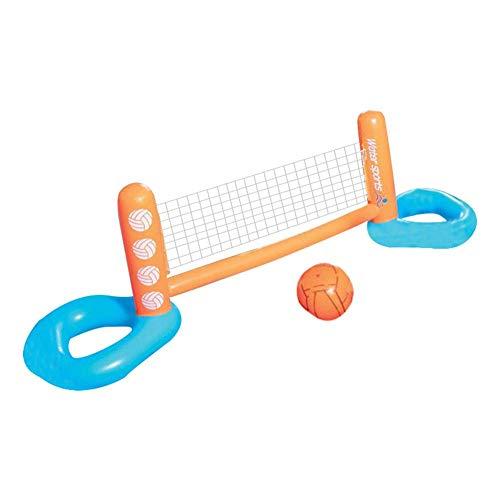 MezoJaoie JJuego hinchable Vóley flotante con red ajustable y pelota, juego de voleibol de agua flotante Juego de piscina para adultos Niños (240X62X71cm)