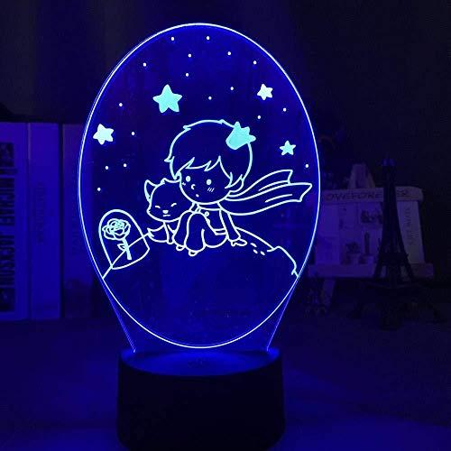 YOUPING 3D-Illusionslampe LED-Nachtlicht Der kleine Prinz Baby für Kinderzimmer Dekor 7 Farben Ändern der USB-Batterie für Kinder Kinder Schlaflampe Personalisierte Dekoration