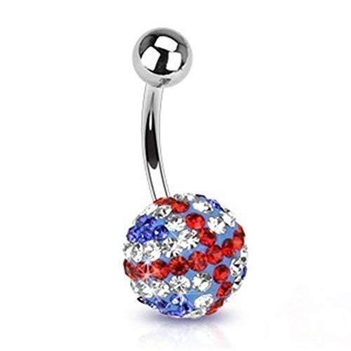 Tapsi´s Coolbodyart® | Piercing para el ombligo de acero inoxidable quirúrgico 316L Ferido Ball, bandera de Reino Unido.
