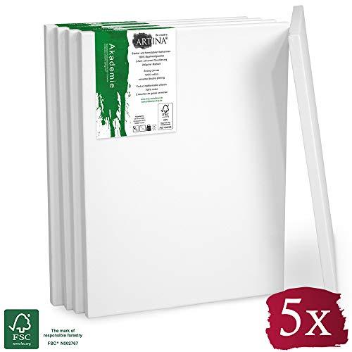 Artina FSC Keilrahmen Akademie 30x40 cm 5er Set - Aus 100% Baumwolle Leinwand Keilrahmen weiß - 280g/m² - verzugsfrei