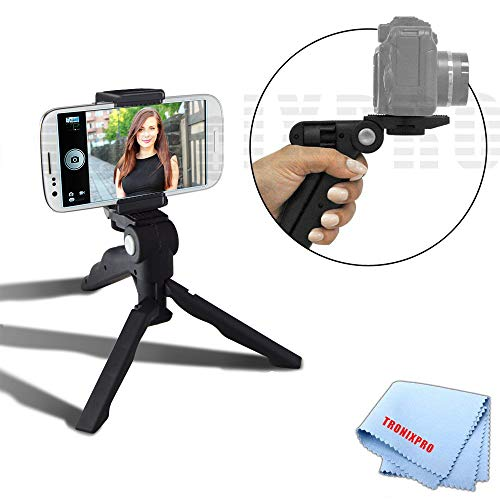 """Adjustable Tabletop Camera/Smartphone Tripod/Steady-Shot Hand Grip, 6.5"""" inches + Universal Tripod Smartphone Mount for Apple iPhone, Android, Fits Most Phones and even Small Tablets (Phablets) + Tronix Microfiber Cloth"""
