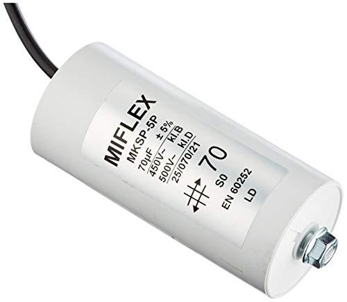 AnlaufKondensator MotorKondensator 70µF 450V 55x119mm Leitung M8 ; Miflex ; 70uF