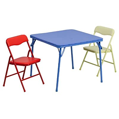 Flash Furniture JB-10-CARD-GG Kids Colorful 3 Piece Folding Table and Chair Set, , Blue