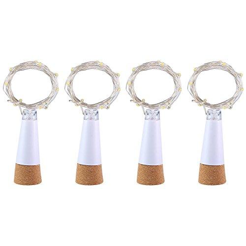 UMIWE Wine Bottle Light, Rechargeable USB Cork Light Fairy Led String Light Lamp for Bottle DIY Party Wedding Home Christmas Decor (4 Pcs, White)