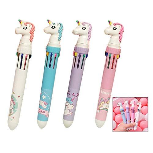 XLKJ 4 stücke Mehrfarbig Stifte 10 in 1 Kugelschreiber 10 Farben Einhorn Stifte Kugelschreiber für Büro Schulbedarf Studenten Kinder Geschenk