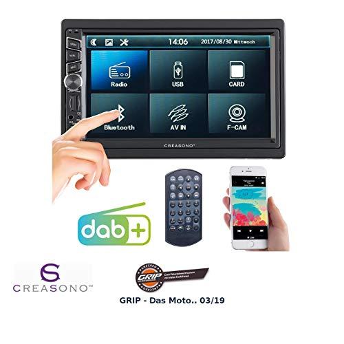 CREASONO 2 DIN Radio: 2-DIN-DAB+/FM-Autoradio, Touchdisplay, Bluetooth, Freisprecher, 4x45 W (Autoradio DAB+ 2DIN)