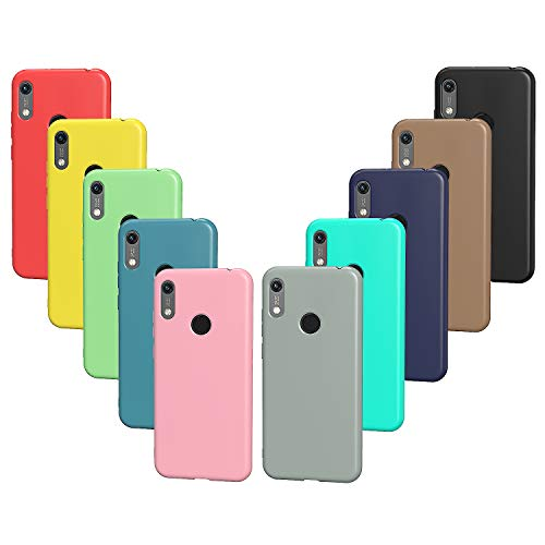 VGUARD 10x Hülle für Huawei Y6 2019 / Y6s 2019 / Honor 8A, Ultra Dünn Tasche Schutzhülle Weiche TPU Silikon Handyhülle Hülle (Schwarz, Grau, Dunkelblau, Himmelblau, Blau, Grün, Rosa, Rot, Gelb, Braun)