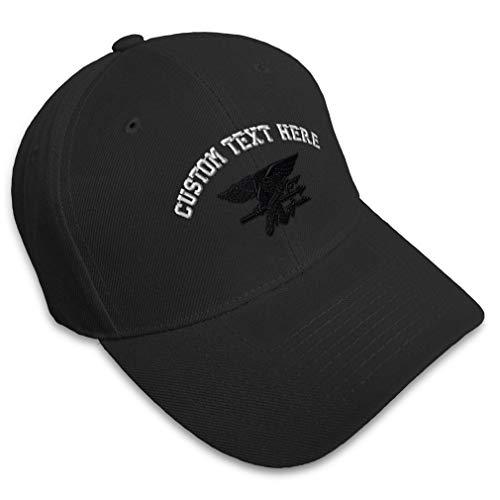 Custom Baseball Cap Navy Seal Black Logo Embroidery Military Insignias Acrylic Hats Strap Closure Black Personalized Text Here