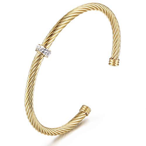 CIUNOFOR Damen Armreif Liebes Knoten Armband Gold Silber vergoldet Edelstahl, Verstellbare Armbänder für Frauen Mädchen kommt in Geschenkbox (Yellow-1)