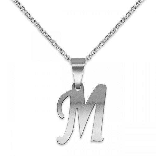 SoulCats® polierter Buchstaben Kettenanhänger aus Edelstahl in Silber; Buchstabe: M